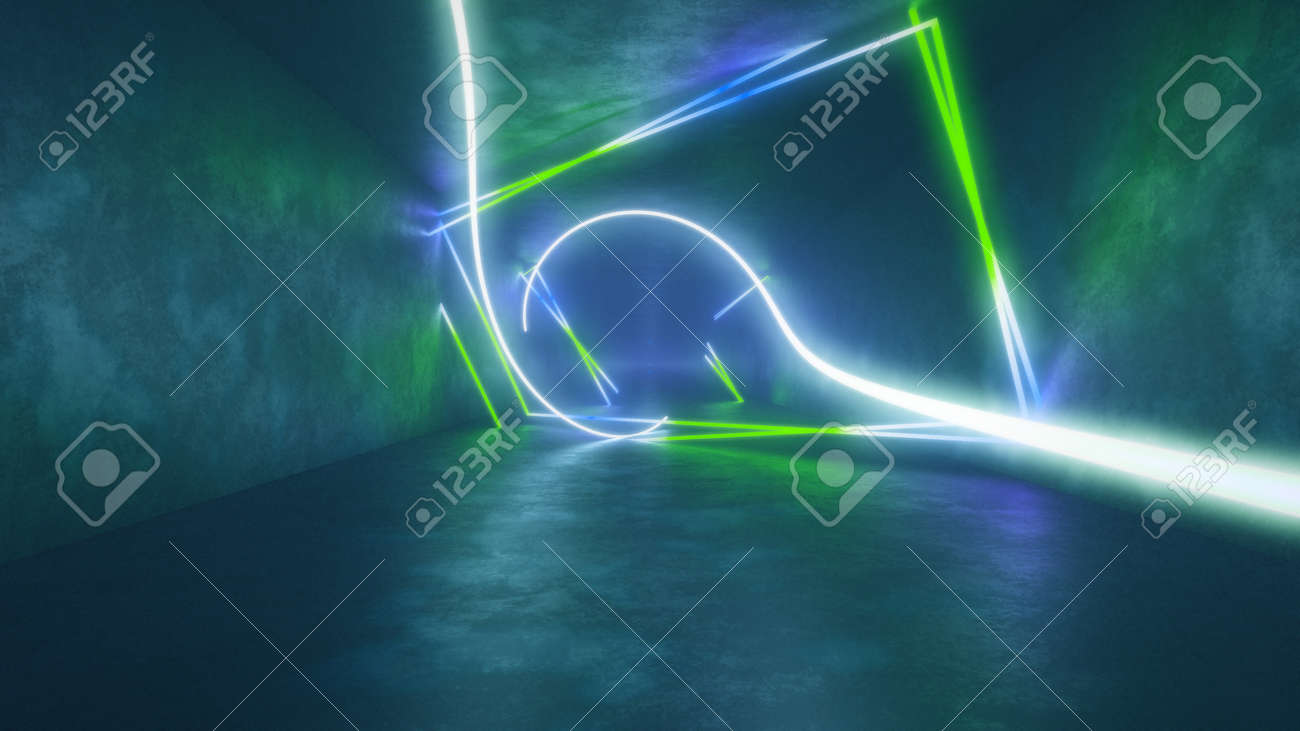 4k 3d render, looped animation tunnel, abstract seamless background, fluorescent ultraviolet light, glowing neon lines, moving forward inside endless tunnel, blue green spectrum, modern colorful illumination. Ultra HD. 3840x2160 - 133775561