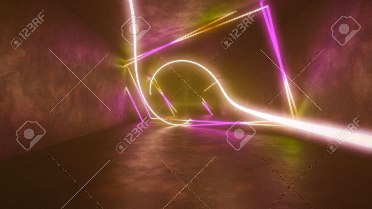 4k 3d render, looped animation tunnel , abstract seamless background, fluorescent ultraviolet light, glowing neon lines, moving forward inside endless tunnel, blue pink spectrum, modern colorful illumination. Ultra HD. 3840x2160 - 133775563