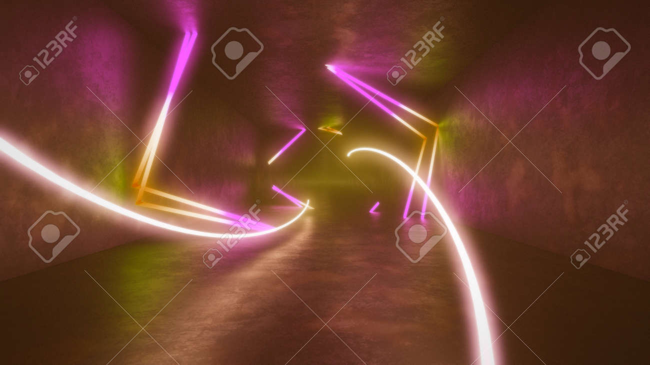 4k 3d render, looped animation tunnel , abstract seamless background, fluorescent ultraviolet light, glowing neon lines, moving forward inside endless tunnel, blue pink spectrum, modern colorful illumination. Ultra HD. 3840x2160 - 133775568