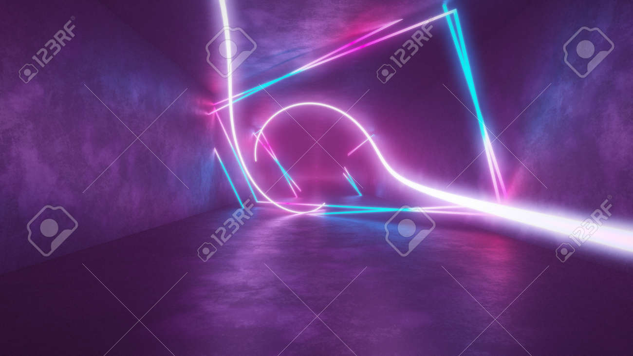 4k 3d render, looped animation tunnel, abstract seamless background, fluorescent ultraviolet light, glowing neon lines, moving forward inside endless tunnel, blue pink spectrum, modern colorful illumination. Ultra HD. 3840x2160 - 133775570