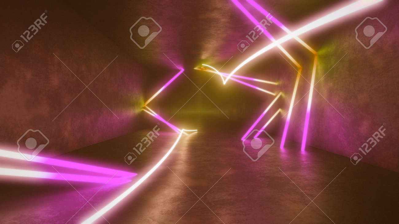 4k 3d render, looped animation tunnel , abstract seamless background, fluorescent ultraviolet light, glowing neon lines, moving forward inside endless tunnel, blue pink spectrum, modern colorful illumination. Ultra HD. 3840x2160 - 133775599