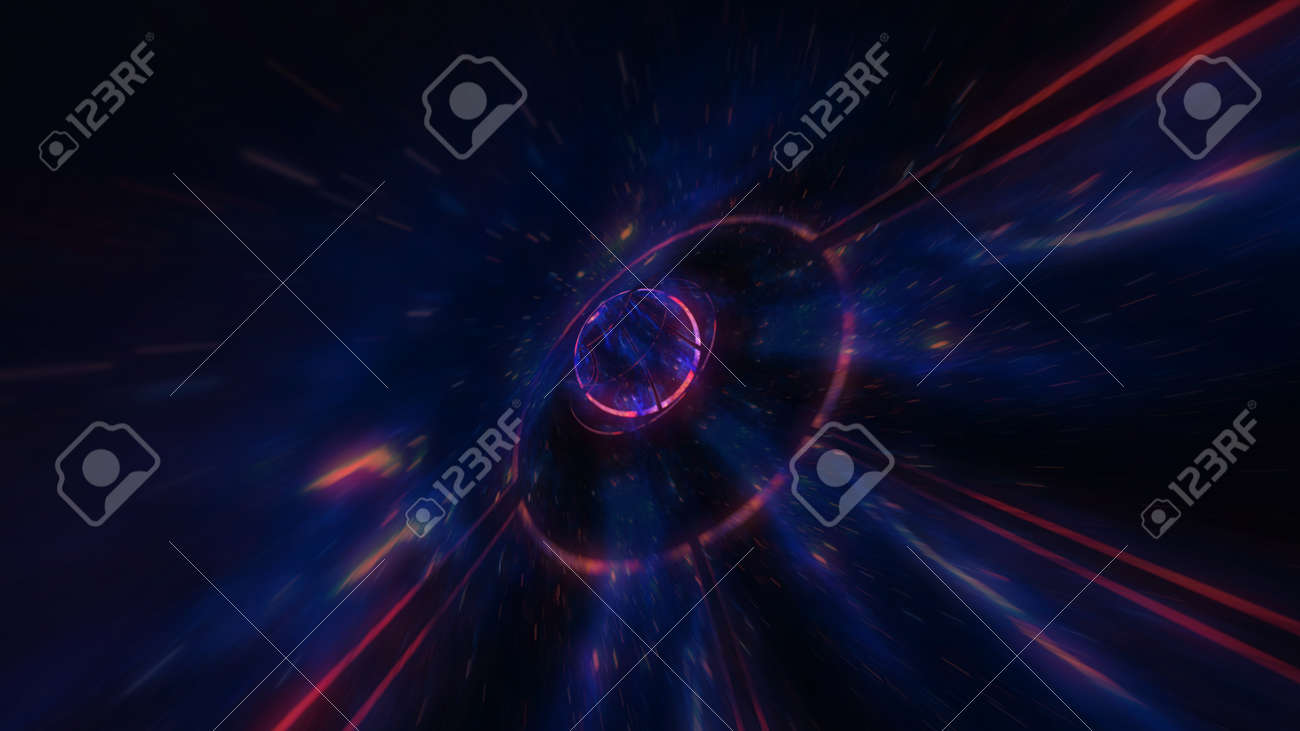 motion design. flight through the lighting space tunnel. Wormhole - 137634837