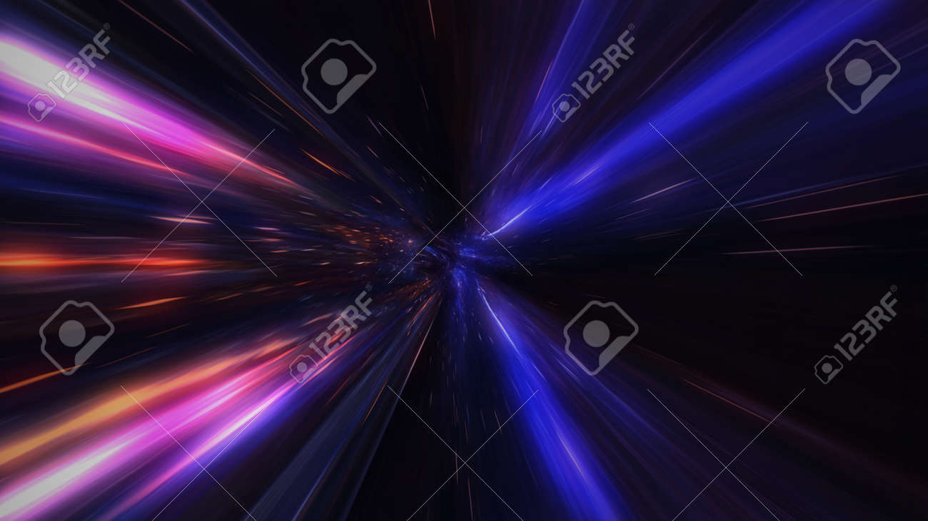motion design. flight through the lighting space tunnel. Wormhole - 137634842