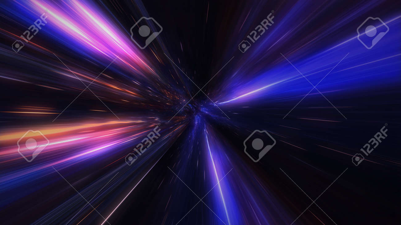 motion design. flight through the lighting space tunnel. Wormhole - 137634848