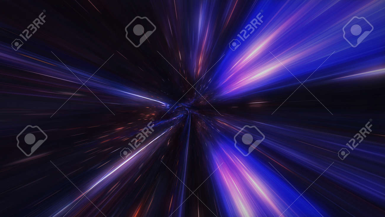 motion design. flight through the lighting space tunnel. Wormhole - 137634850