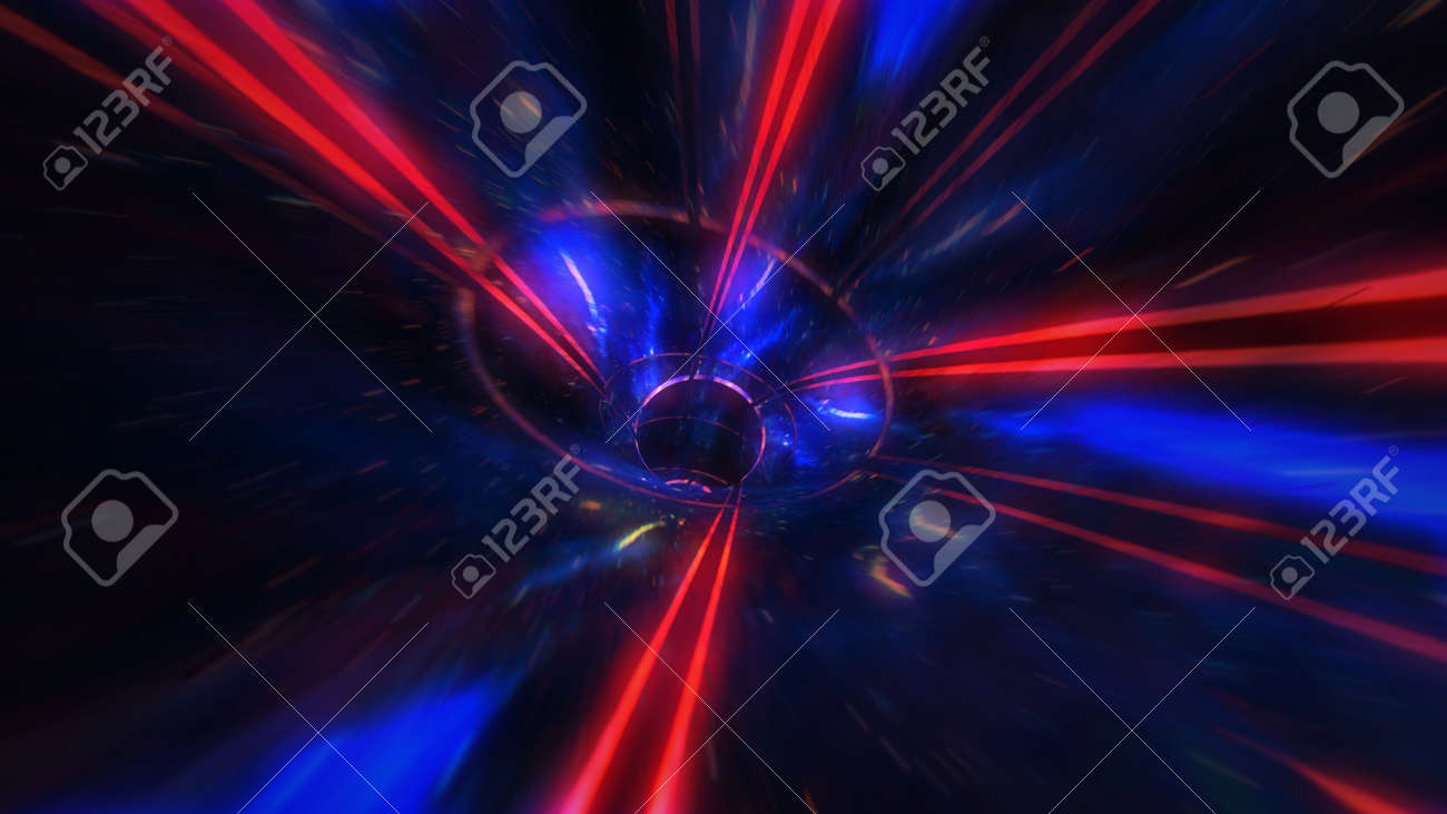 motion design. flight through the lighting space tunnel. Wormhole - 137634851