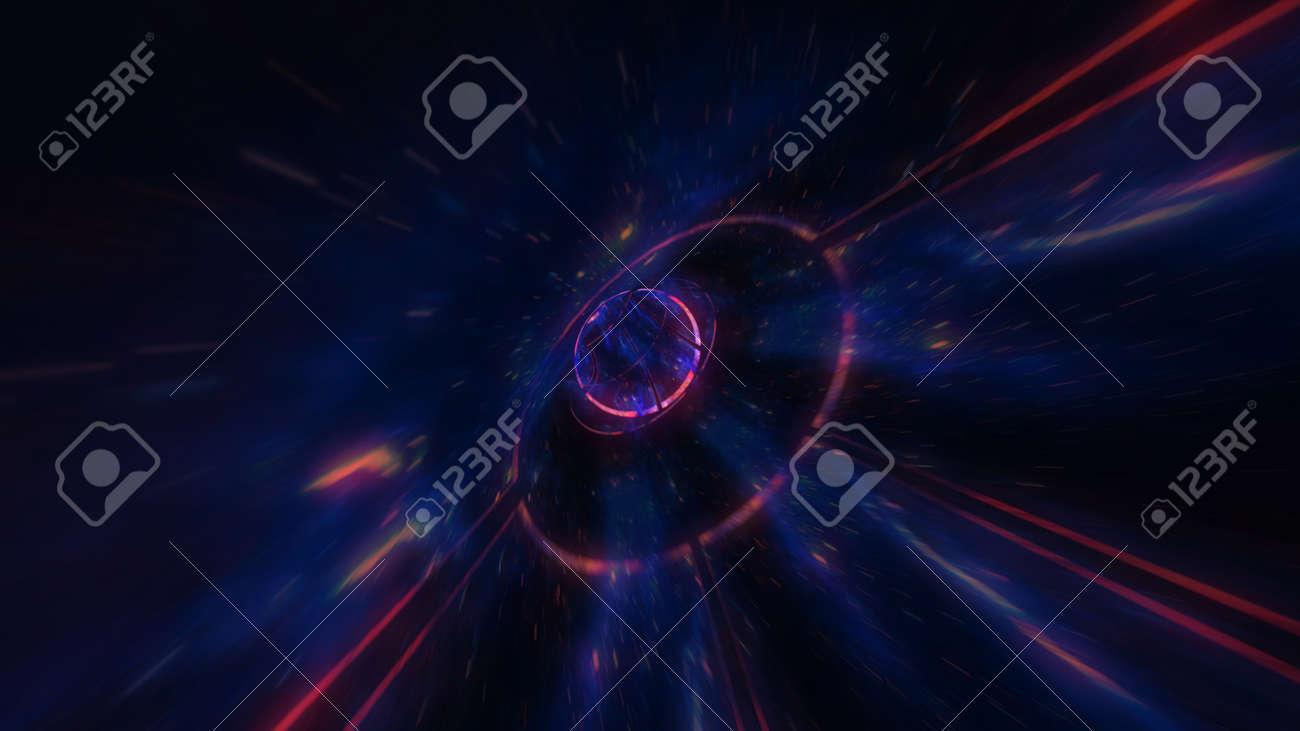 4K motion design. flight through the lighting space tunnel. Wormhole - 137634853