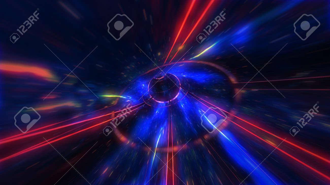 4K motion design. flight through the lighting space tunnel. Wormhole - 137634854