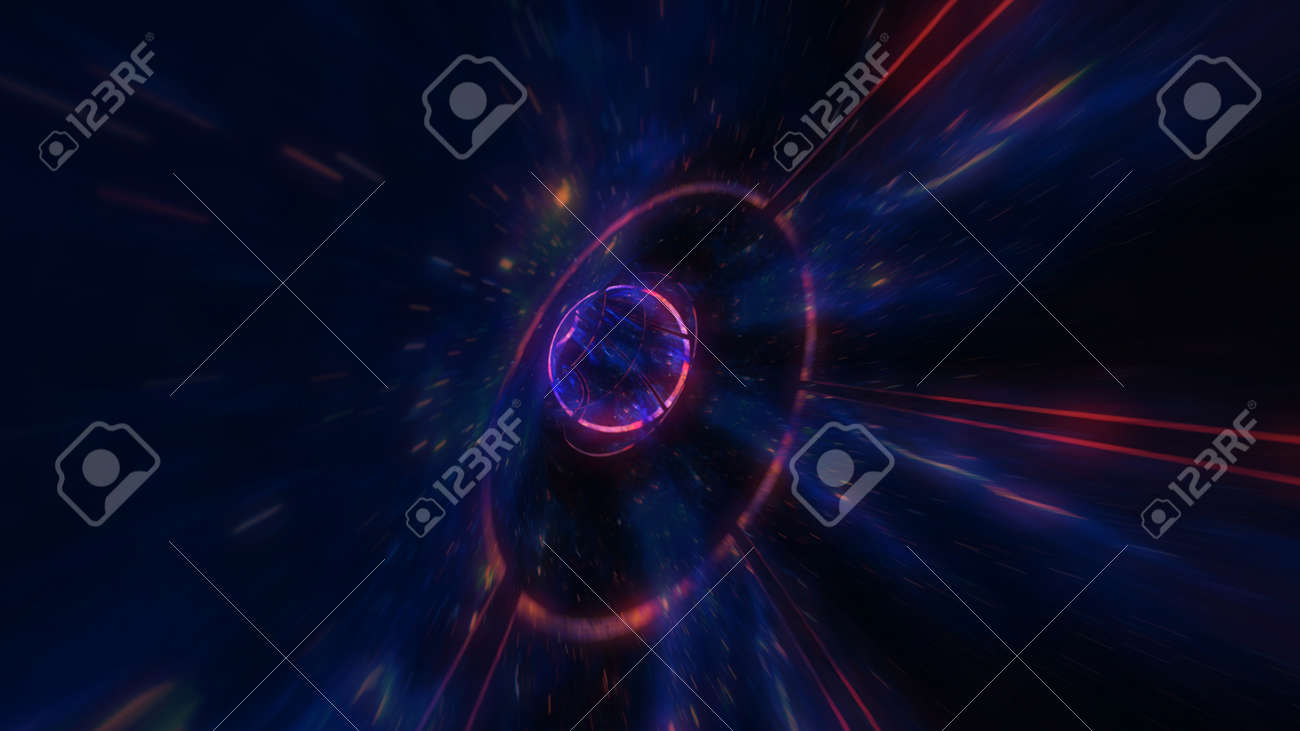 motion design. flight through the lighting space tunnel. Wormhole - 137636474