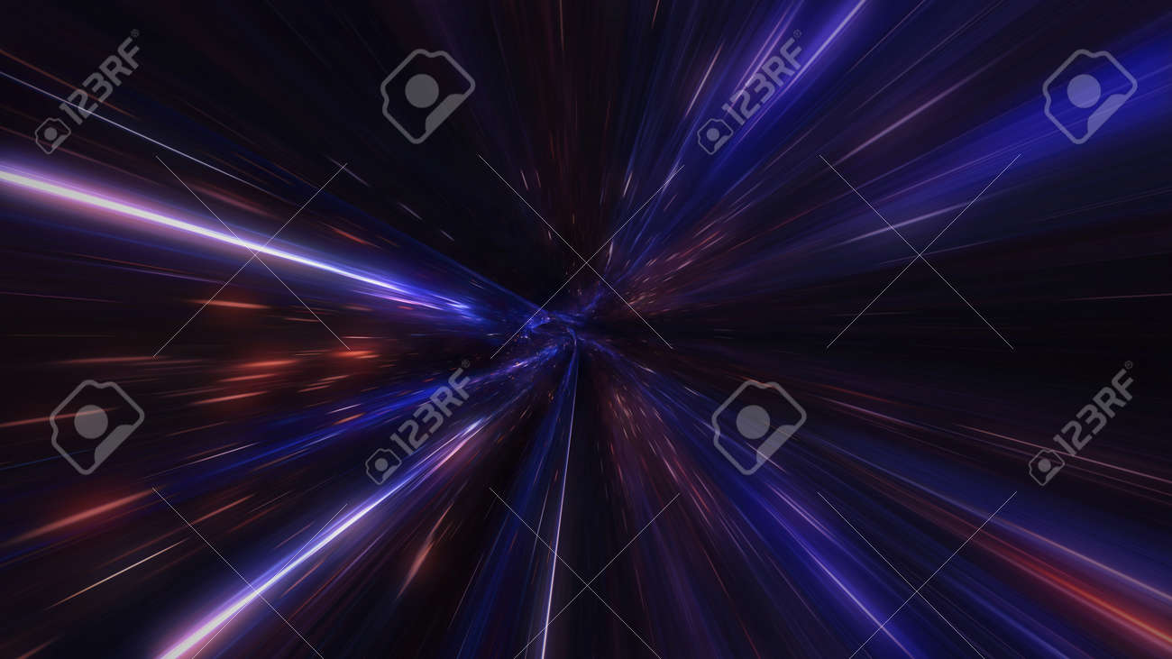motion design. flight through the lighting space tunnel. Wormhole - 137636476