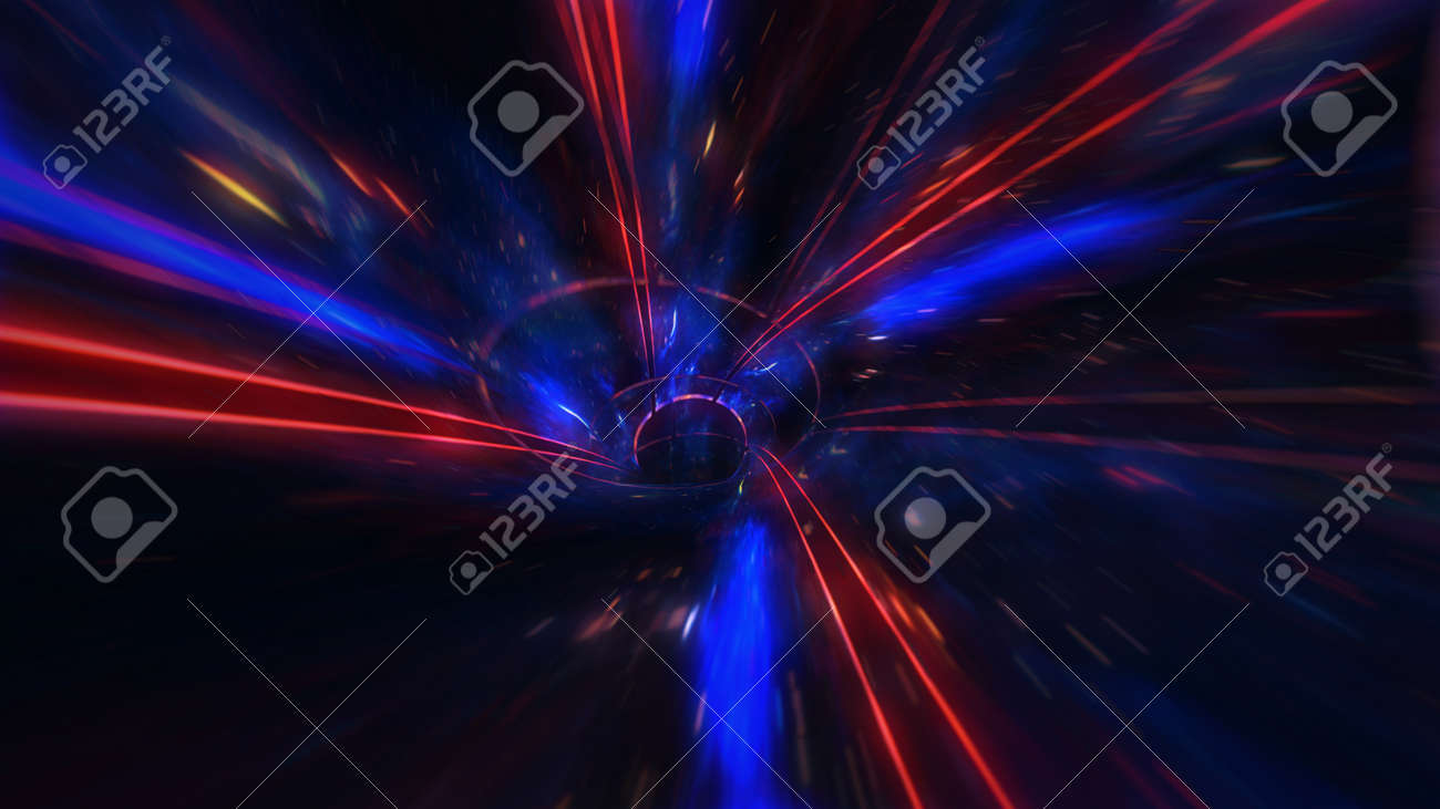 motion design. flight through the lighting space tunnel. Wormhole - 137636478