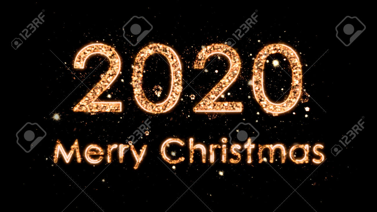 4k Christmas composition with congratulations 2020 and Merry Christmas. The numbers come from the magic sparks of the fireworks. Composition on a black background. - 135500835