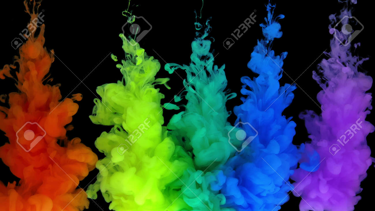 4k Multicolored composition from ink streams. ink streams from the rainbow spectrum float and mix in the center of the composition. Colorful abstract combination of acrylic rainbow colored black background. Ink in water, slow motion. - 140895284