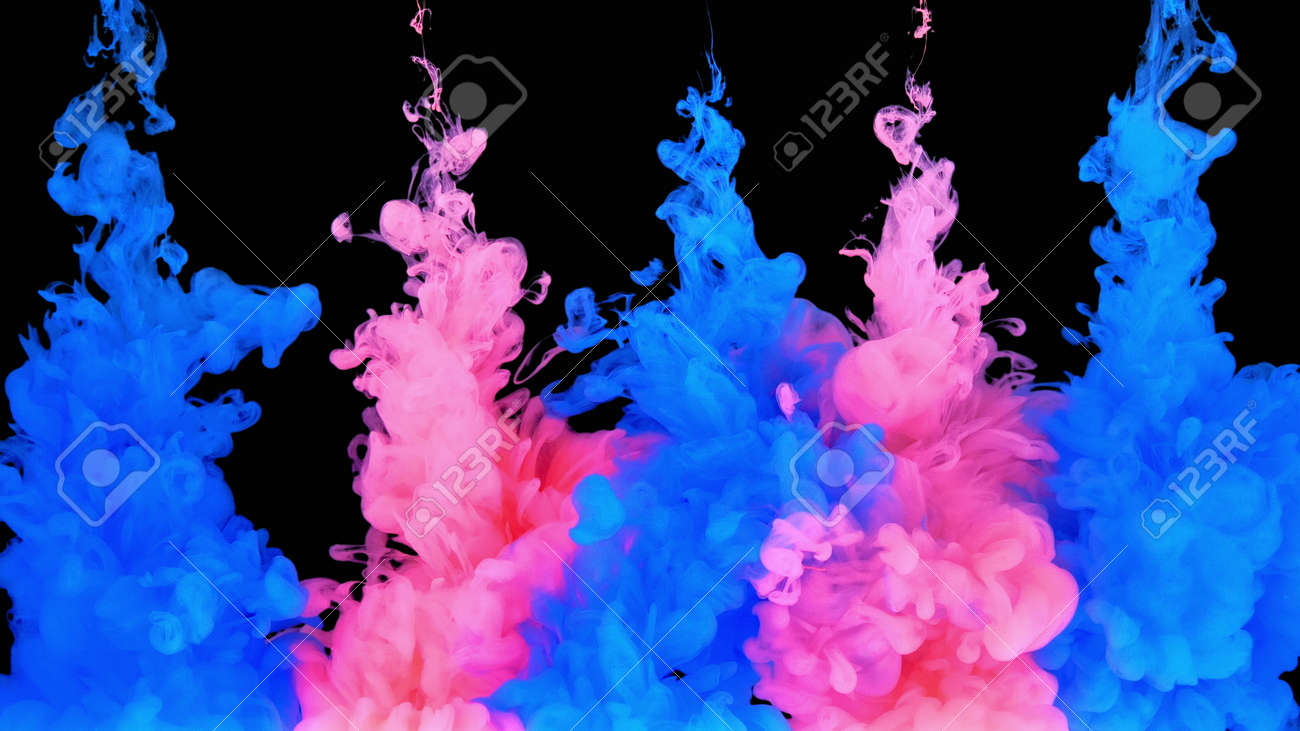 4k Multicolored composition of ink jets. jets of ink from red and blue colors are mixed in the center of the composition. Colorful abstract combination of acrylic rainbow painted black background. Ink in water, slow motion. - 140895286