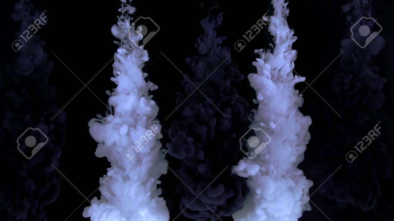 4k Monochrome composition of ink jets. trickles of black and white ink mixed in the center of the composition. Colorful abstract combination of acrylic rainbow painted black background. Ink in water, slow motion. - 140895294