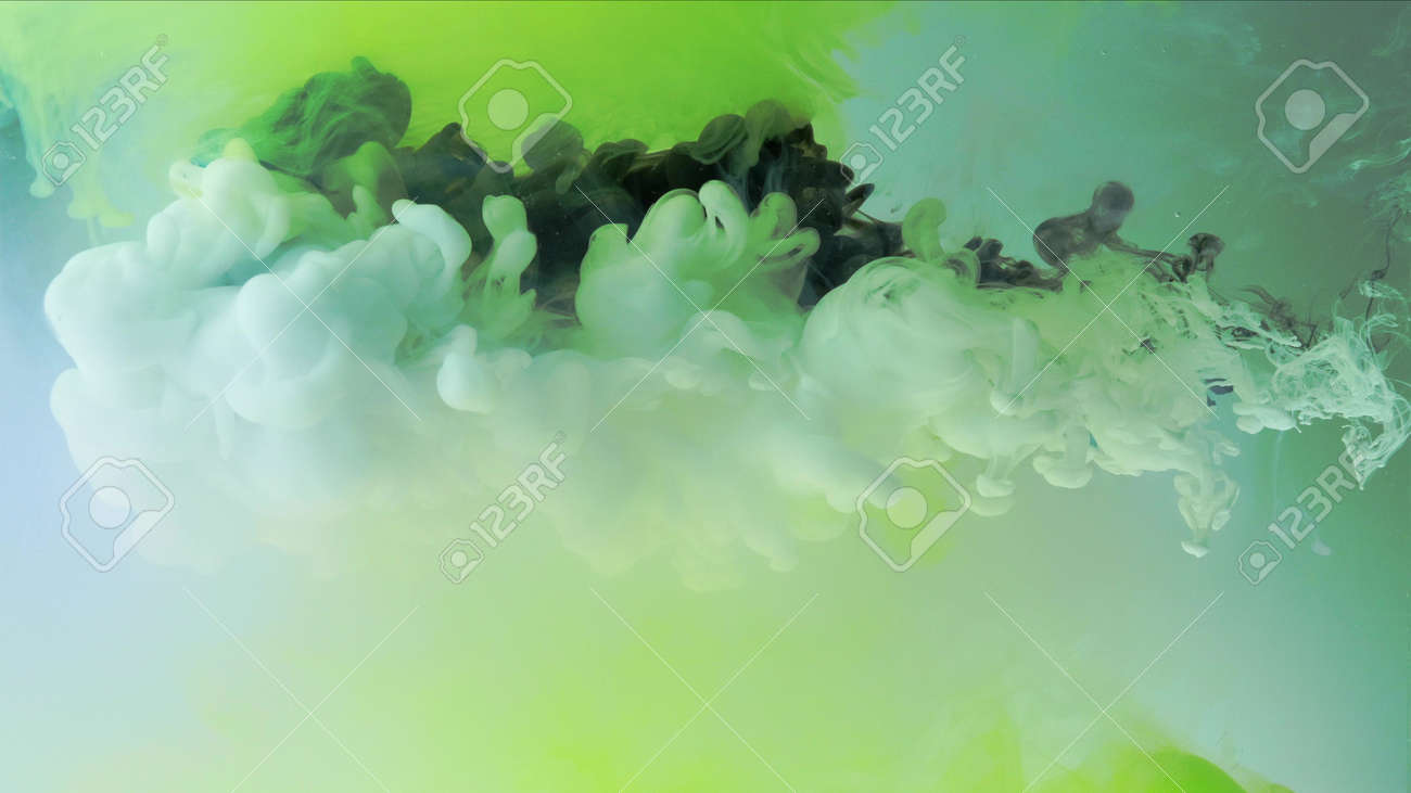 4k Multicolored composition from ink streams. Black and white streams of ink float and mix in the center of the composition. Colorful abstract combination of acrylic rainbow ink on a light green background. Ink in water, slow motion. - 141591914