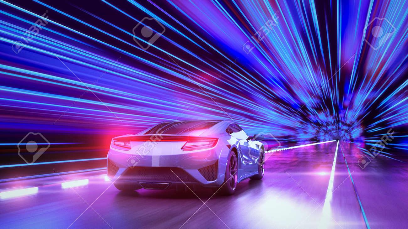 A modern sports car drives quickly through an abstract light tunnel . 3d render - 148408065