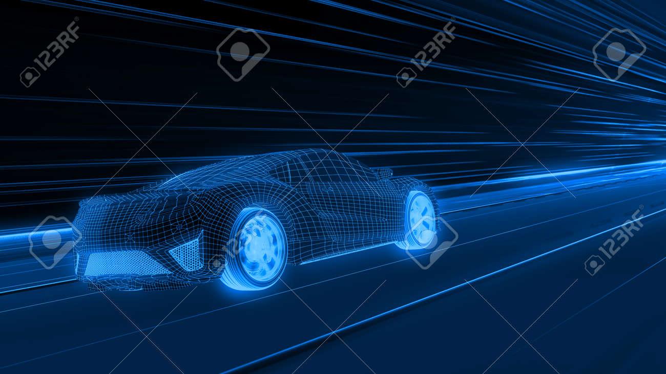 A modern sports car drives quickly through an abstract light tunnel . 3d render - 148409550