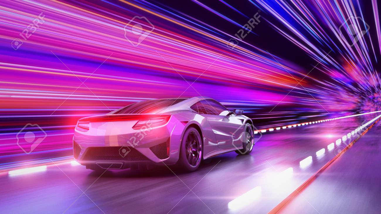 A modern sports car drives quickly through an abstract light tunnel . 3d render - 148409551