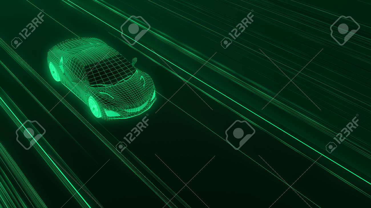 A modern sports car drives quickly through an abstract light tunnel . 3d illustration - 149920267