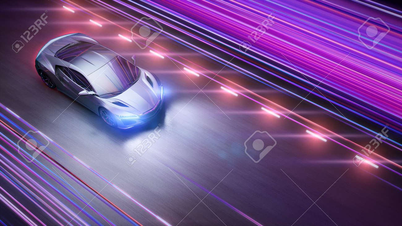 A modern sports car drives quickly through an abstract light tunnel . 3d illustration - 149920268