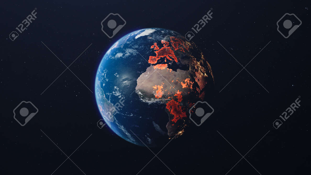 The spread of the virus on the planet. Planet in the starry sky. 3d render - 149920269