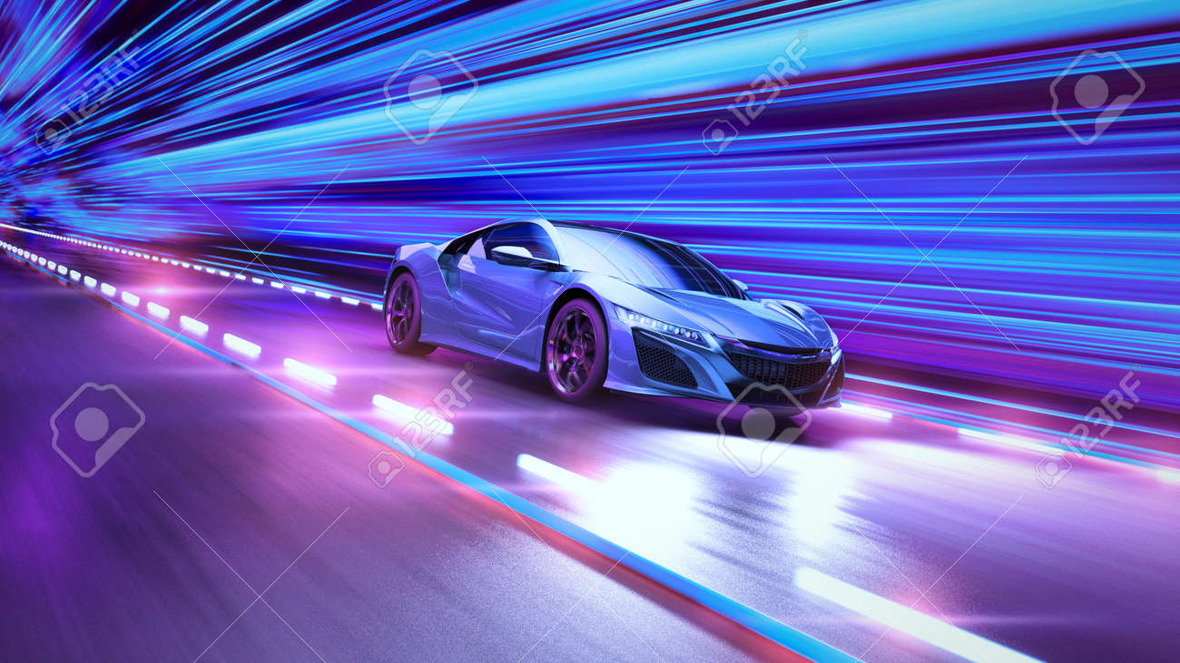 A modern sports car drives quickly through an abstract light tunnel . 3d illustration - 149920271