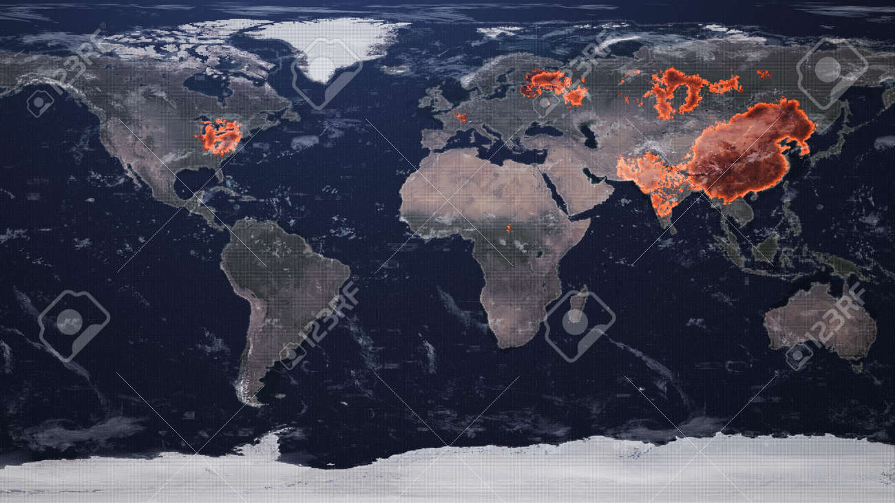 4k 3d The spread of Chinese coronavirus (COVID-19) throughout the planet. 2d illustration - 149920274