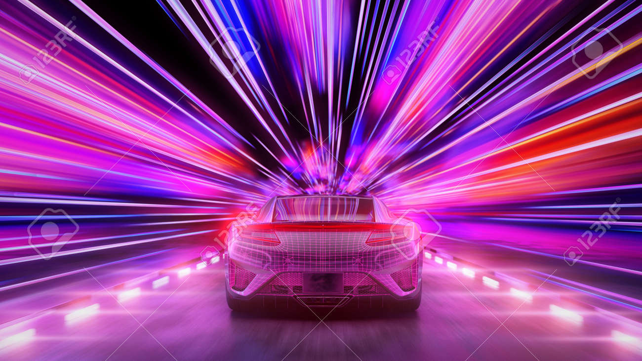A modern sports car drives quickly through an abstract light tunnel . 3d illustration - 149920279