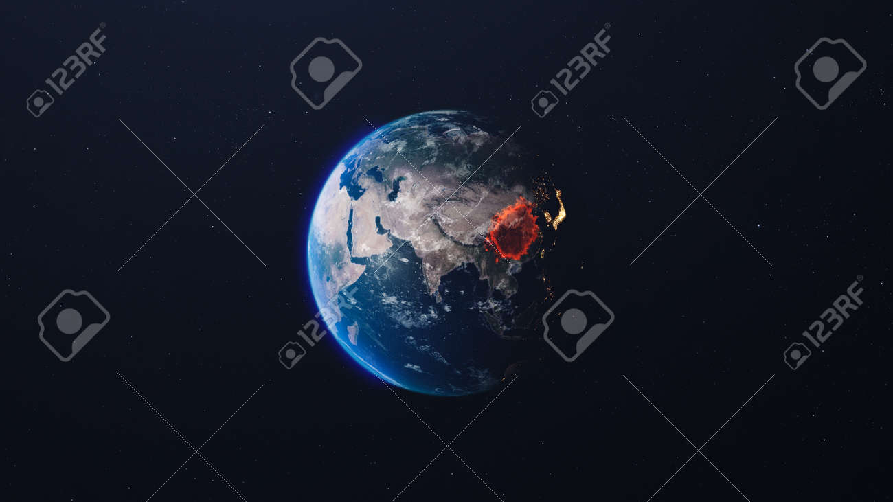 The spread of the virus on the planet. Planet in the starry sky. 3d render - 150018732