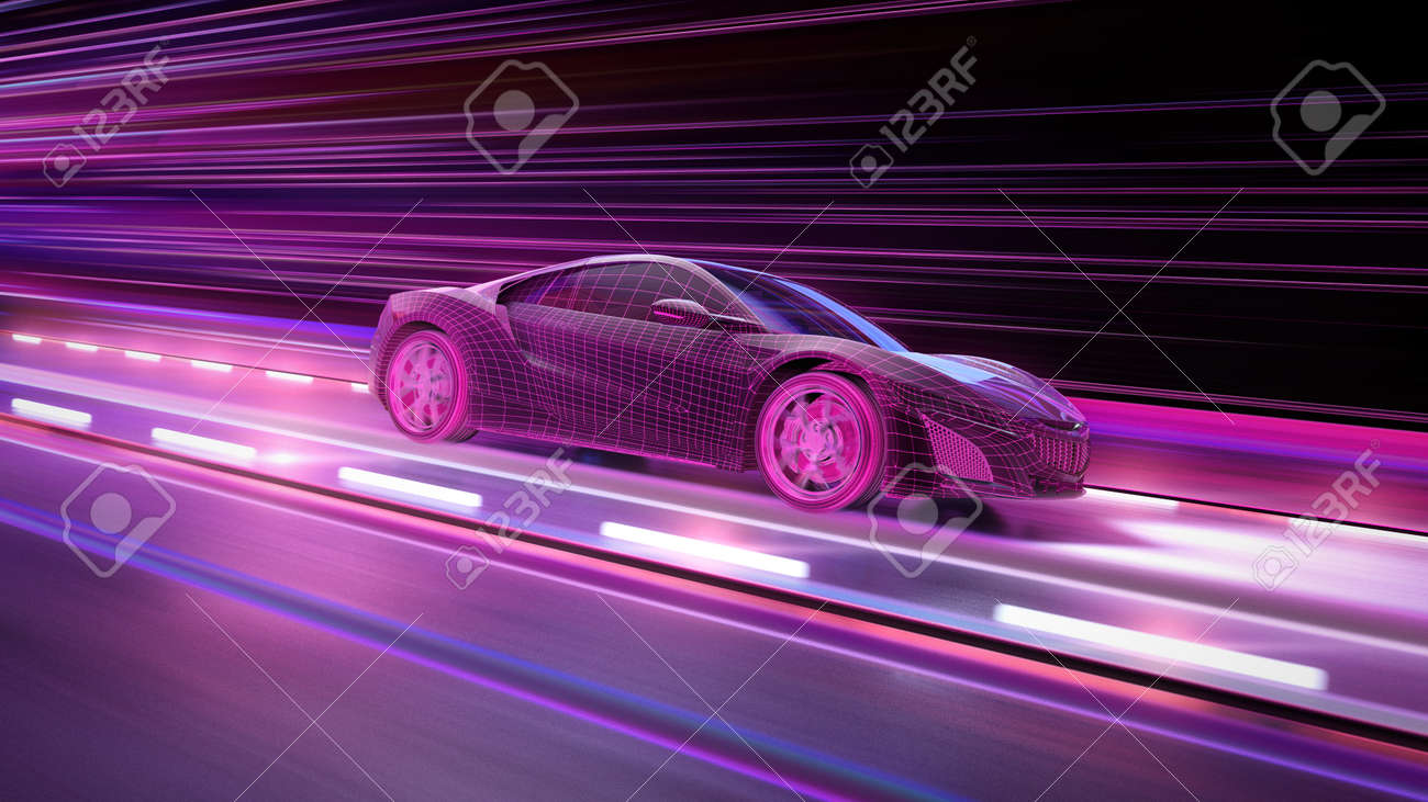 A modern sports car drives quickly through an abstract light tunnel . 3d illustration - 150018734