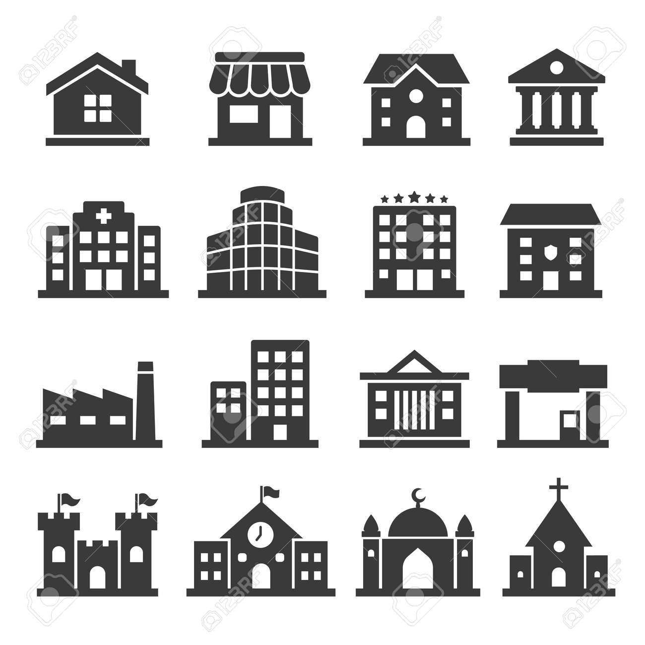 Public building vector icon set on white background - 148986916