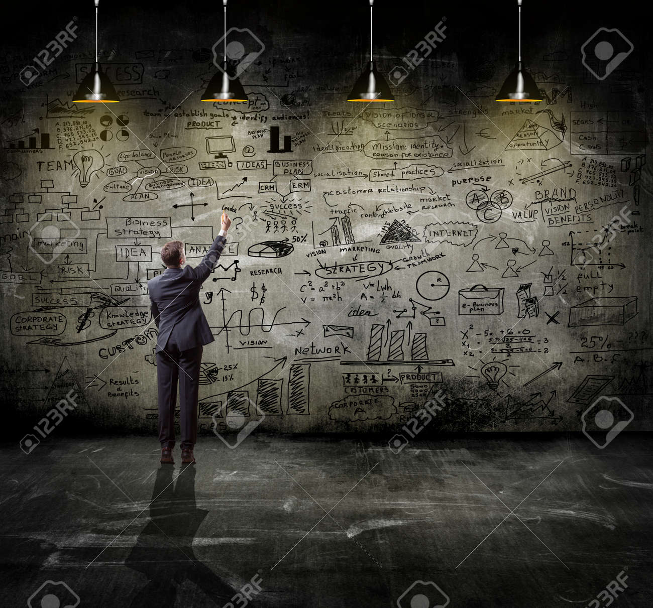 business strategy on the wall with lamp - 41330281