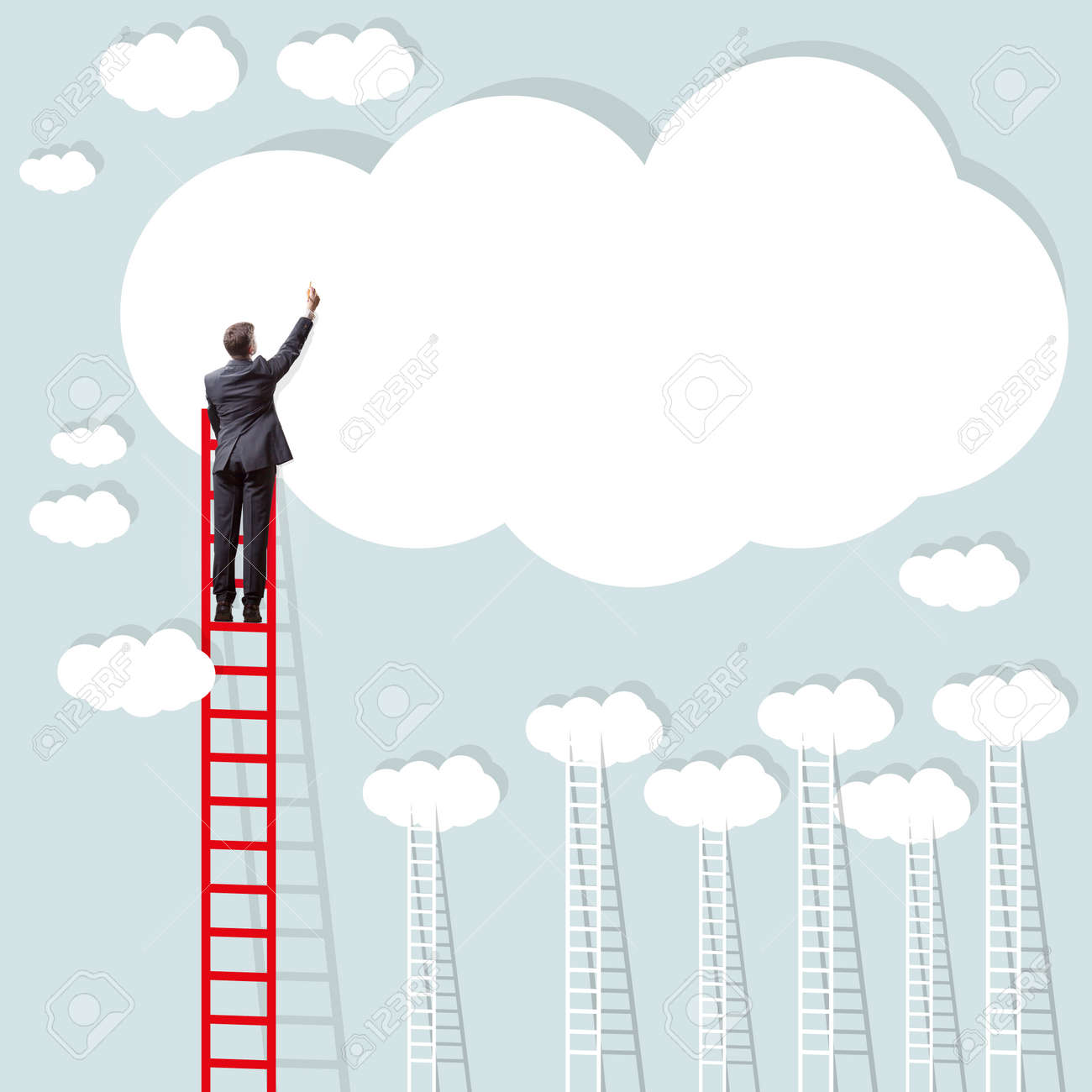 businessmen writing a concept on a cloud - 41304409