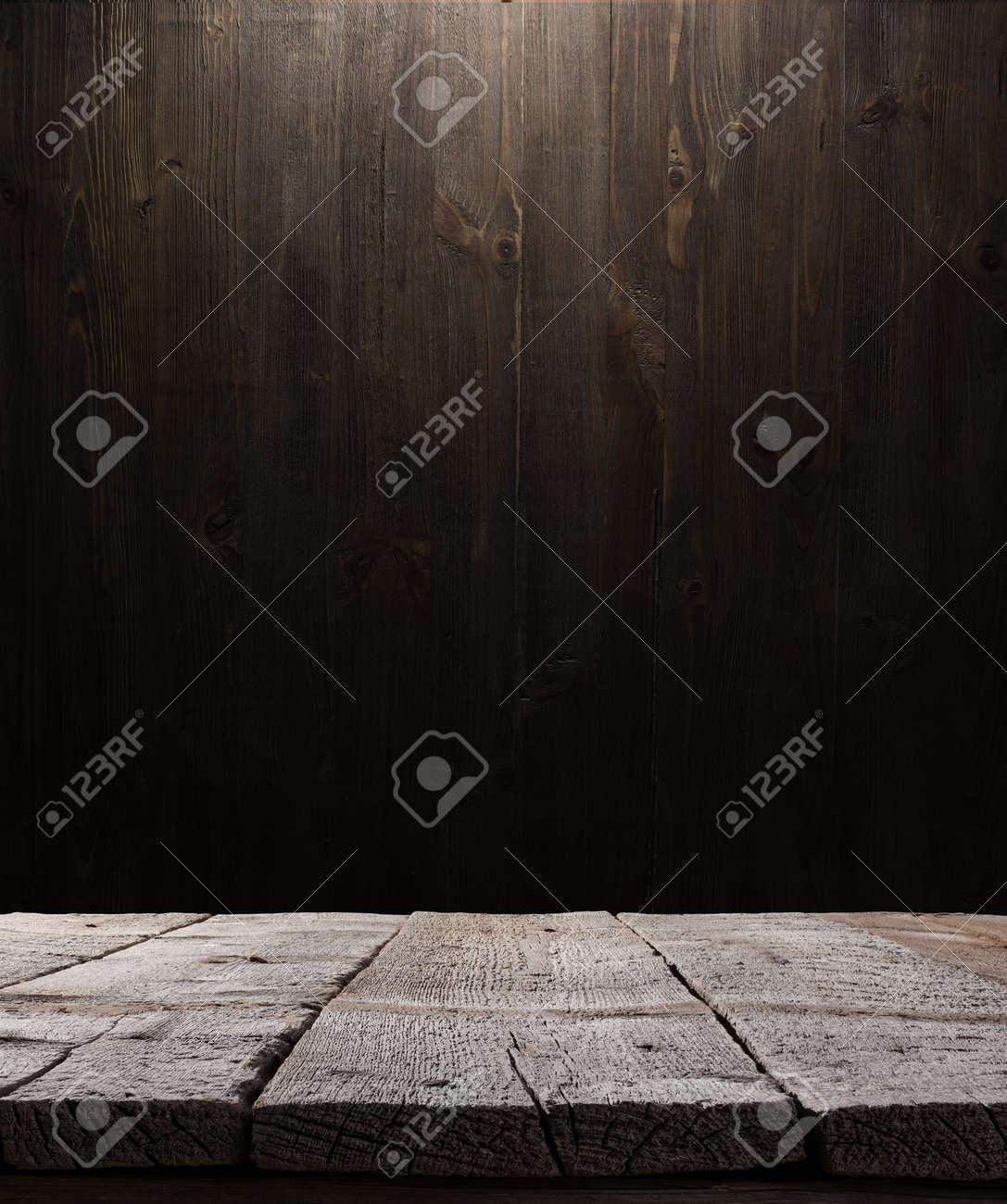 dark wooden background texture. Wood shelf, grunge industrial interior with light bulb - 43458430