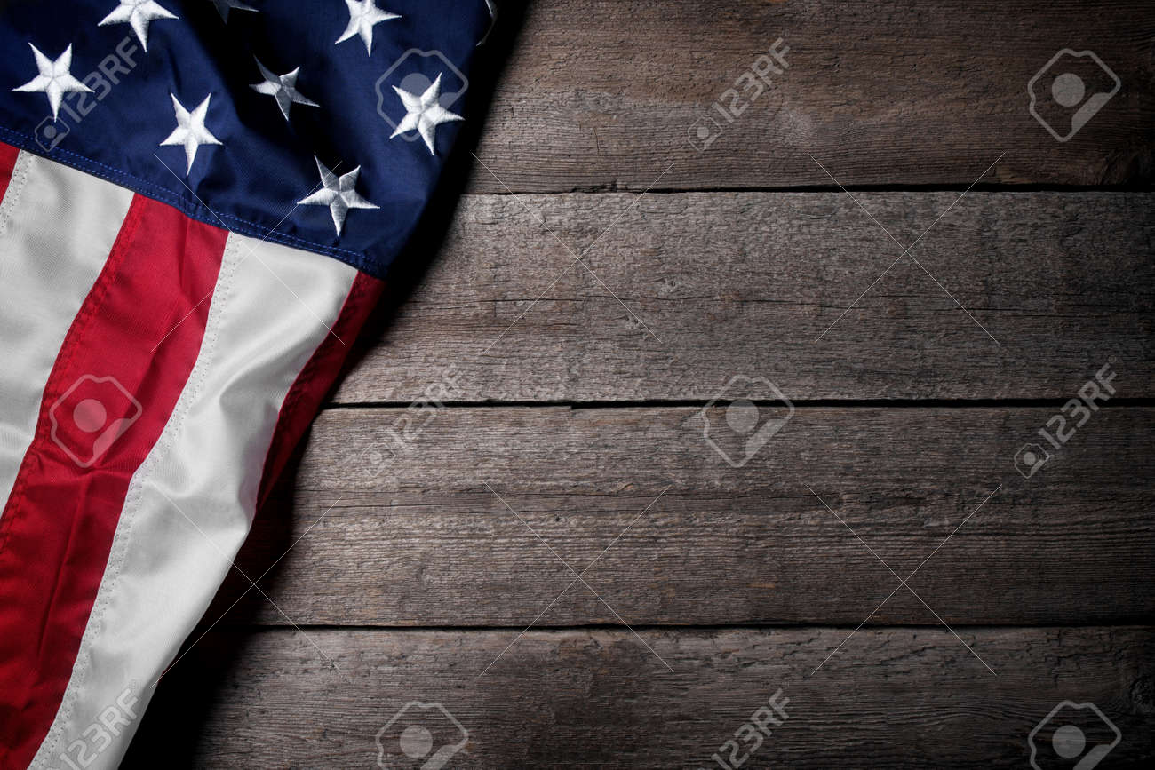 Flag of The USA on wooden background - 49005282