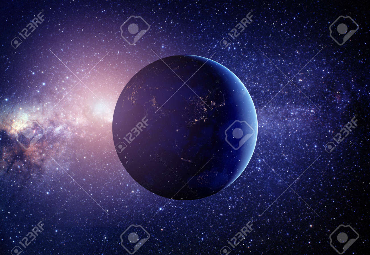 Planet earth from the space in the middle with stars. - 49005285