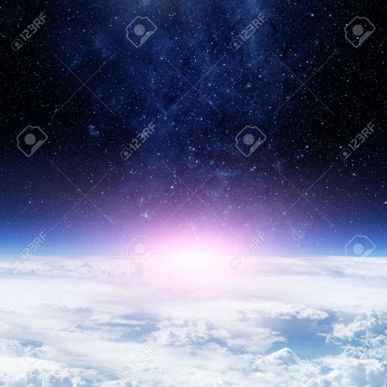 Clouds of Earth planet and star sky on the background. - 50879265