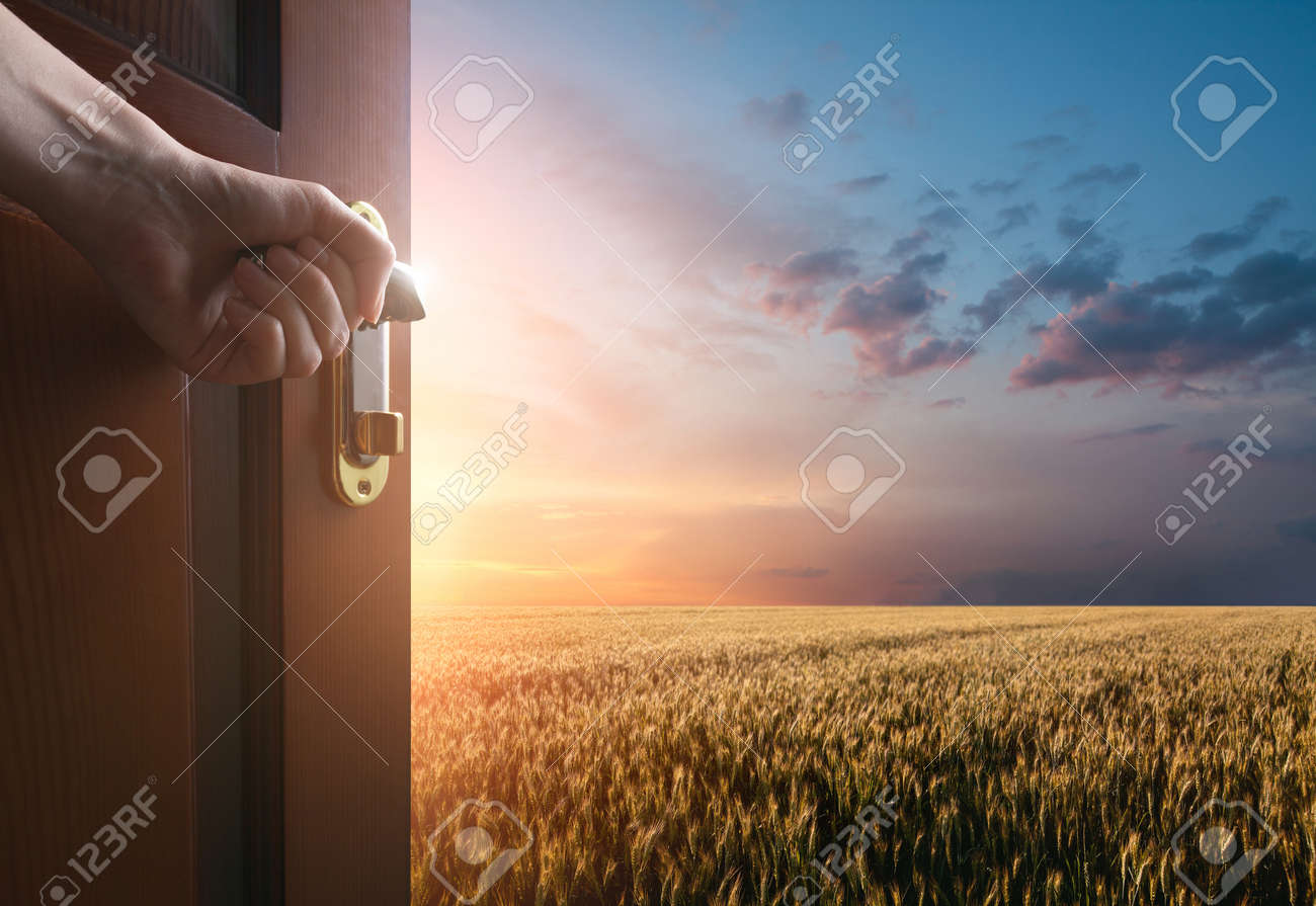 hand opens the door to the meadow with green grass and glue sky - 54964156