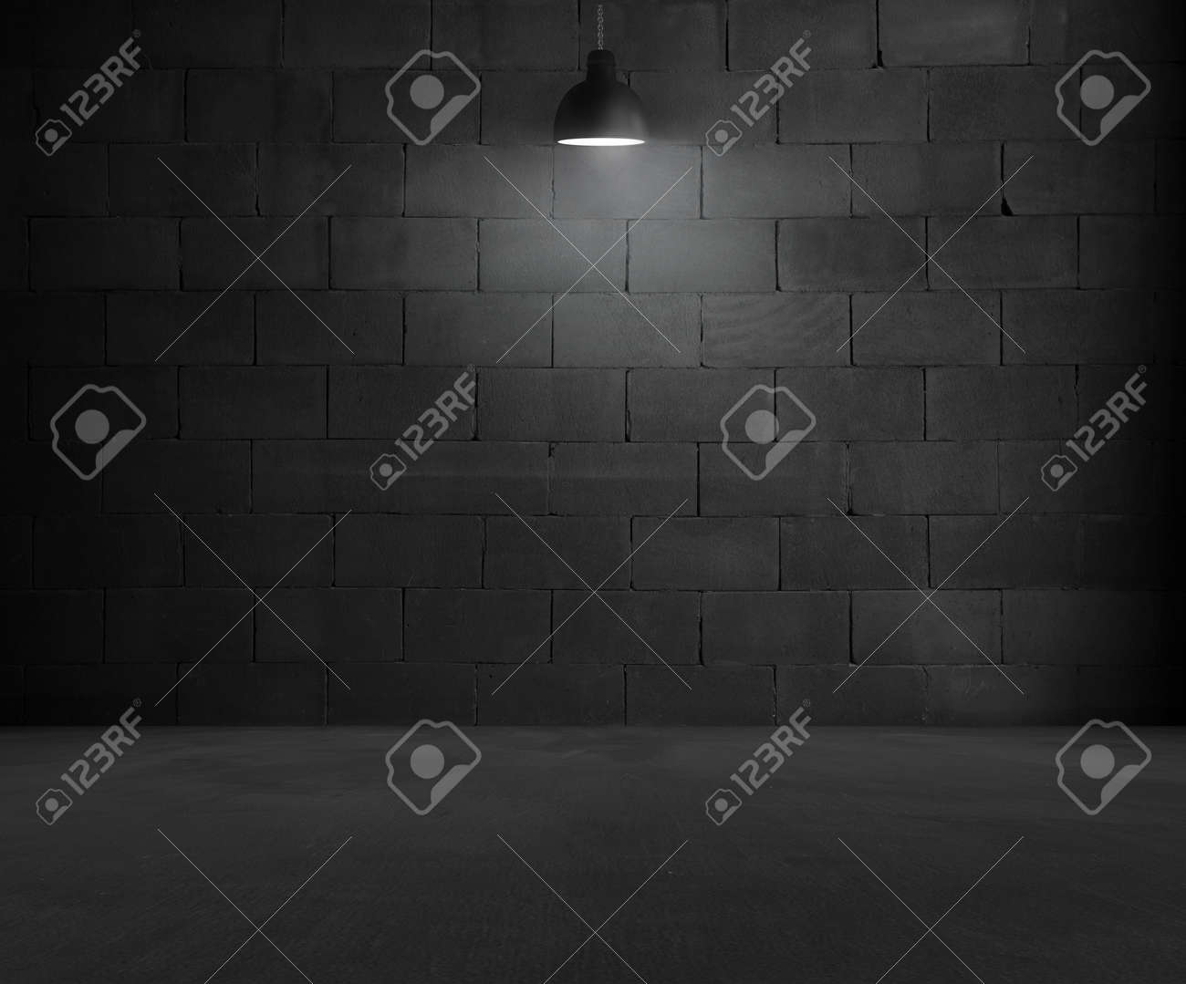Black brick room interior design with lamp - 58393682