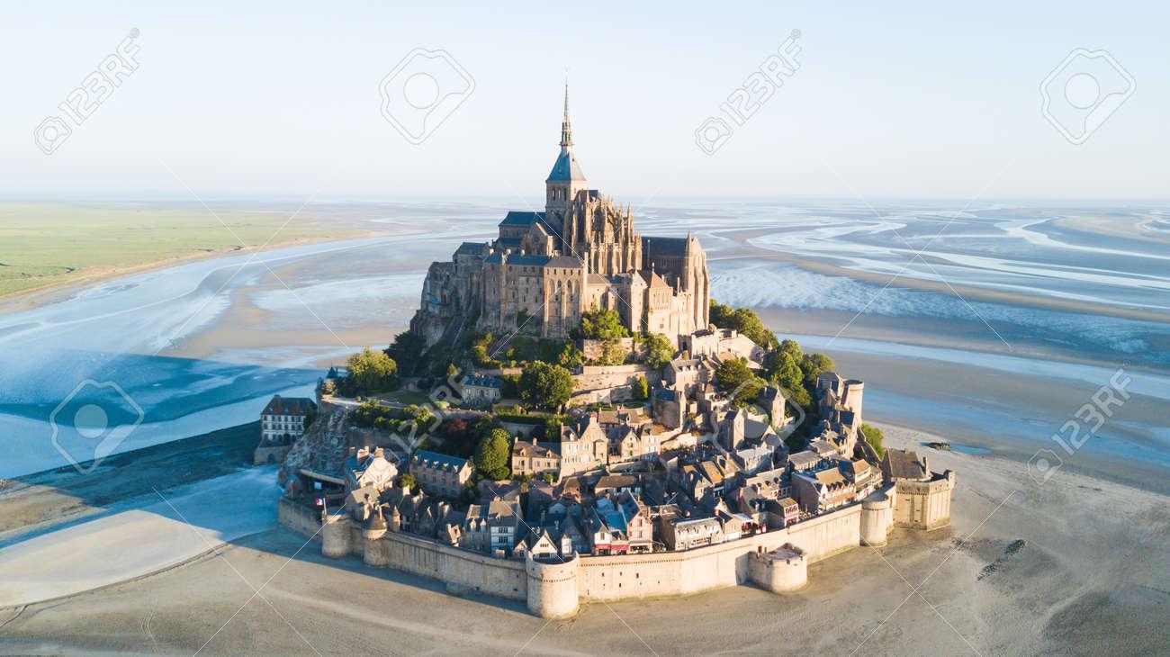 Le Mont Saint-Michel tidal island in beautiful twilight at dusk, Normandy, France - 82399093