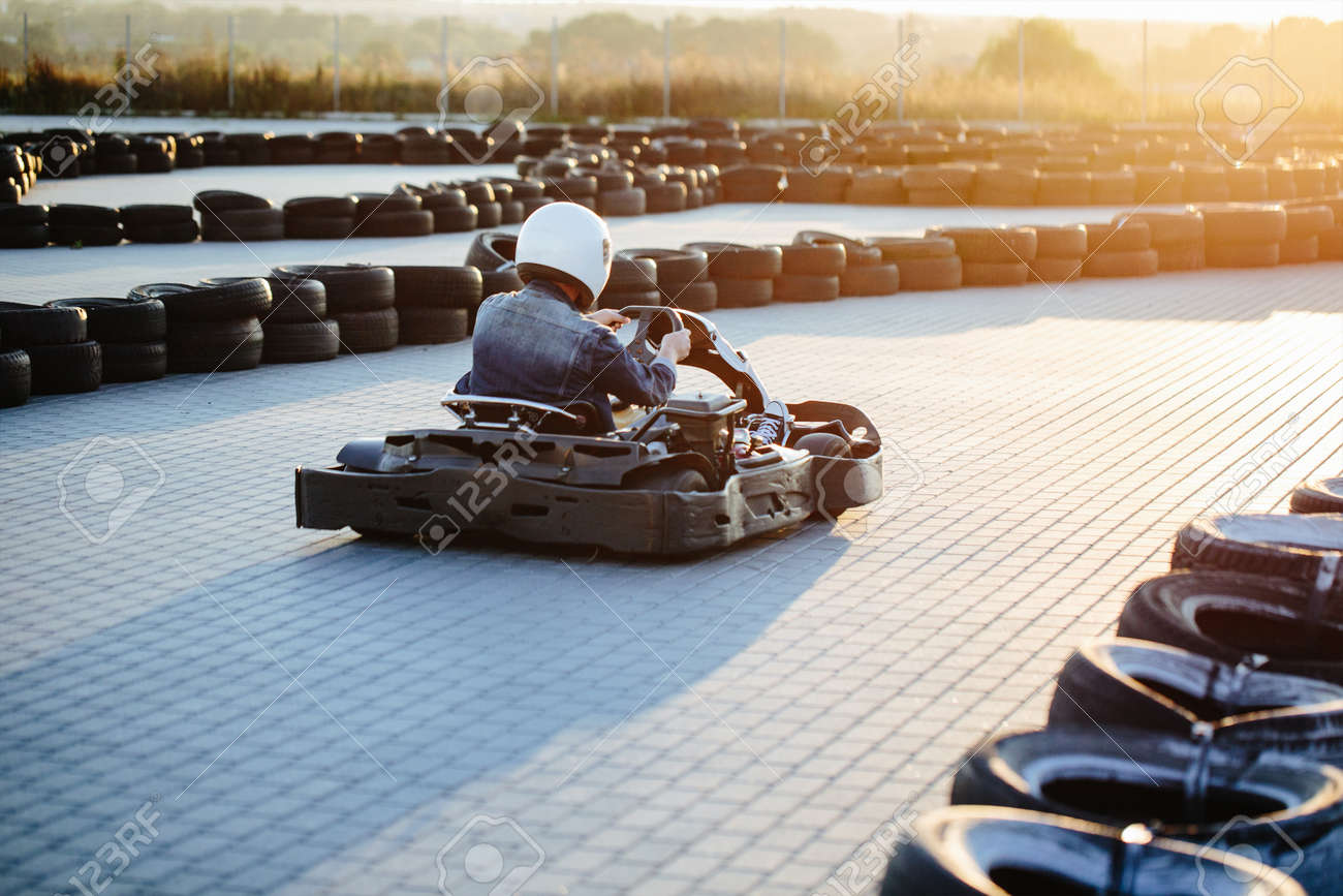 Karting Competition Or Racing Cars Riding For Victory On A Racetrack