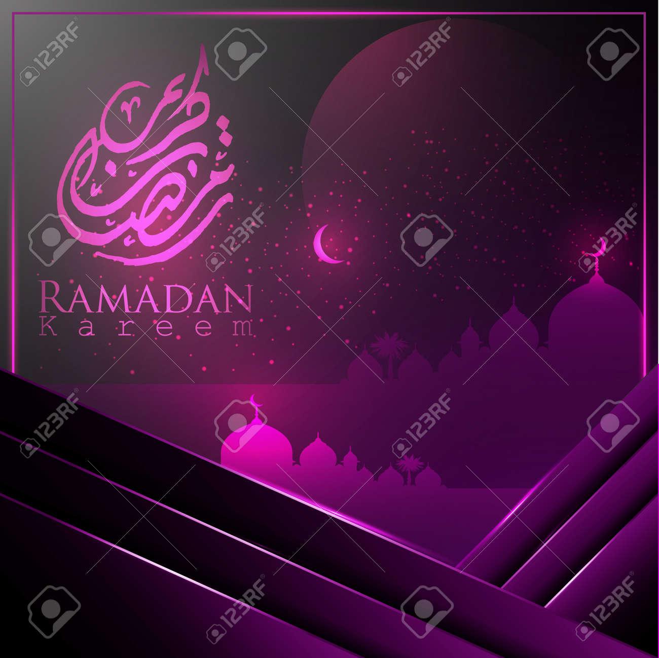 Ramadan Kareem islamic greeting card template withislamic calligraphy,