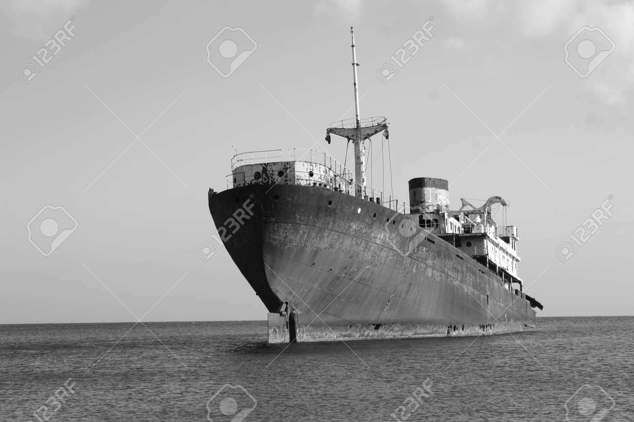 Black And White picture of an Old Wreck in the Port of Arrecife, Atlantic Sea  Lanzarote Island Spain Stock Photo - 15857069