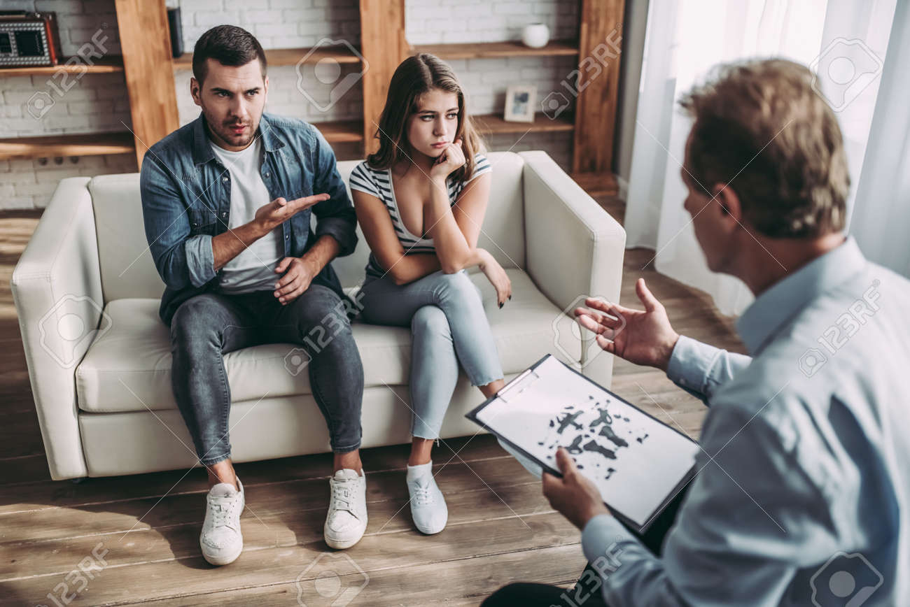 Young Couple At A Psychologist S Reception Solving Family Problems Stock Photo Picture And Royalty Free Image Image 90674311