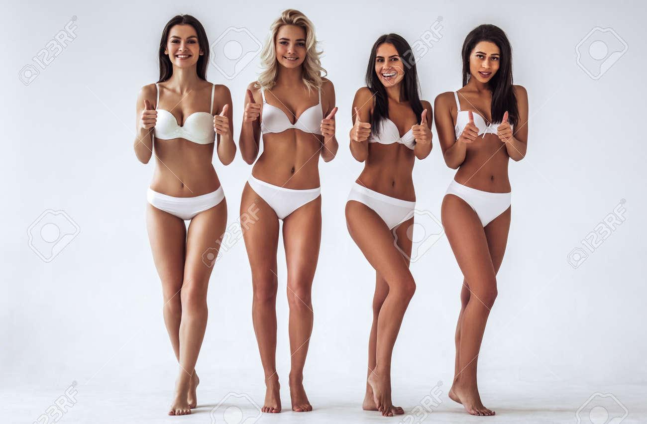 Women posing in lingerie