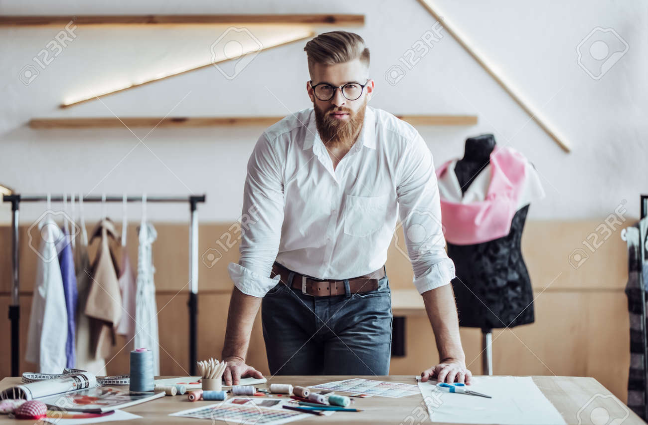 Handsome Male Fashion Designer Is Working In His Workshop Stylish Stock Photo Picture And Royalty Free Image Image 96131637