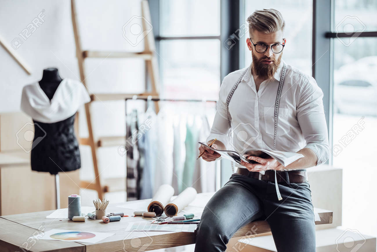 Handsome Male Fashion Designer Is Working In His Workshop Stylish Stock Photo Picture And Royalty Free Image Image 96131646