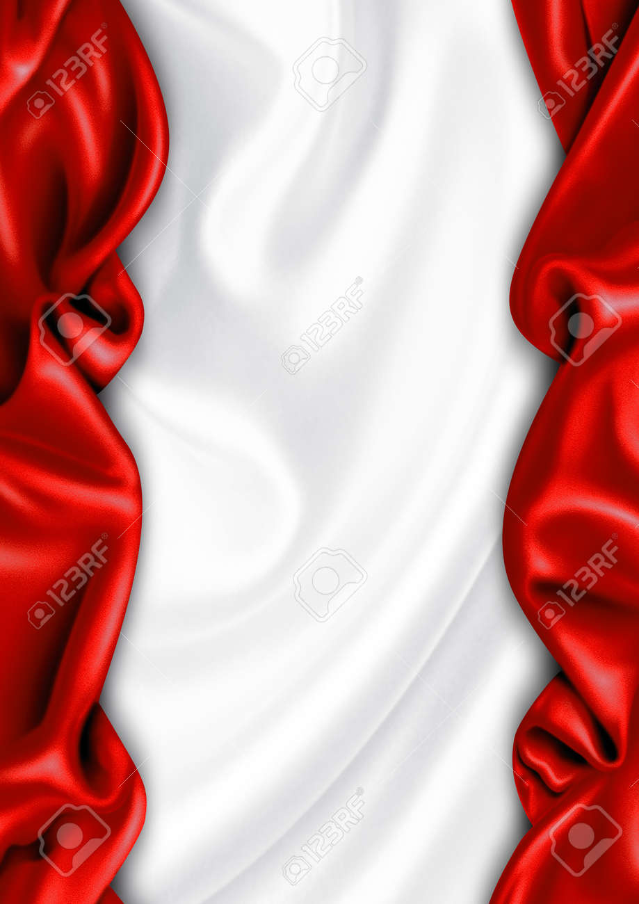 Red and white satin fabric background - 9646377