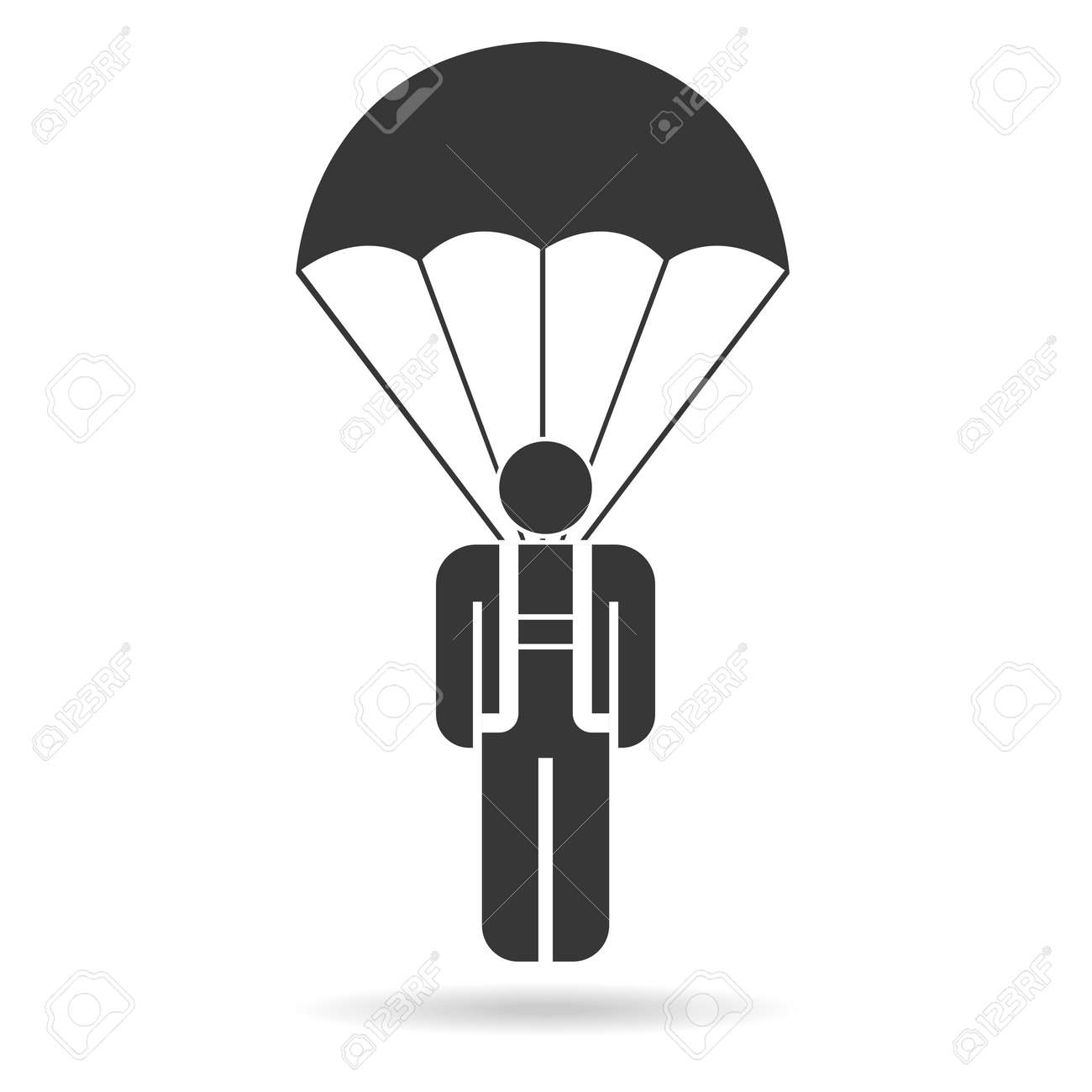 skydiver on parachute vector icon royalty free cliparts vectors rh 123rf com parachute vector free parachute vector graphics